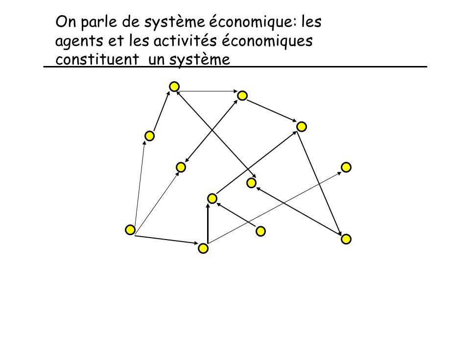 On parle de système économique: les agents et les activités économiques constituent un système