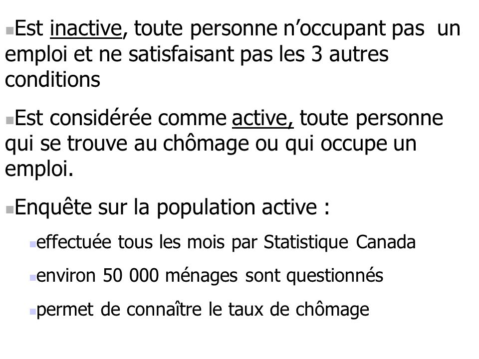 Enquête sur la population active :