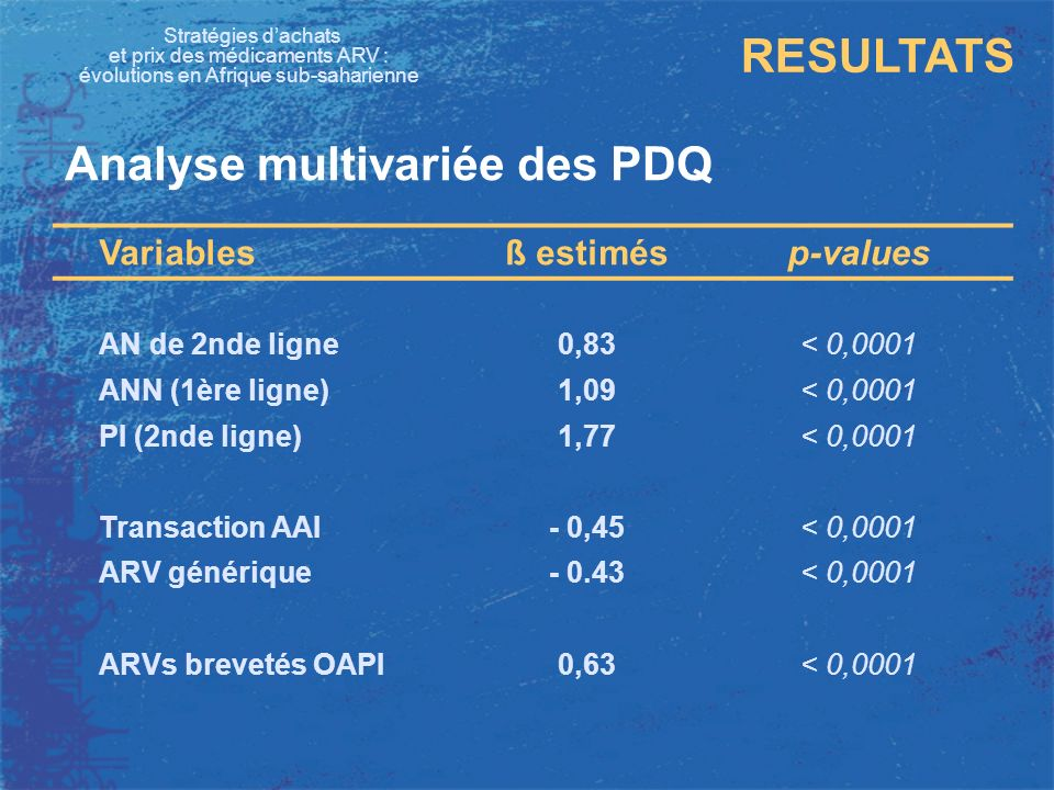 Analyse multivariée des PDQ