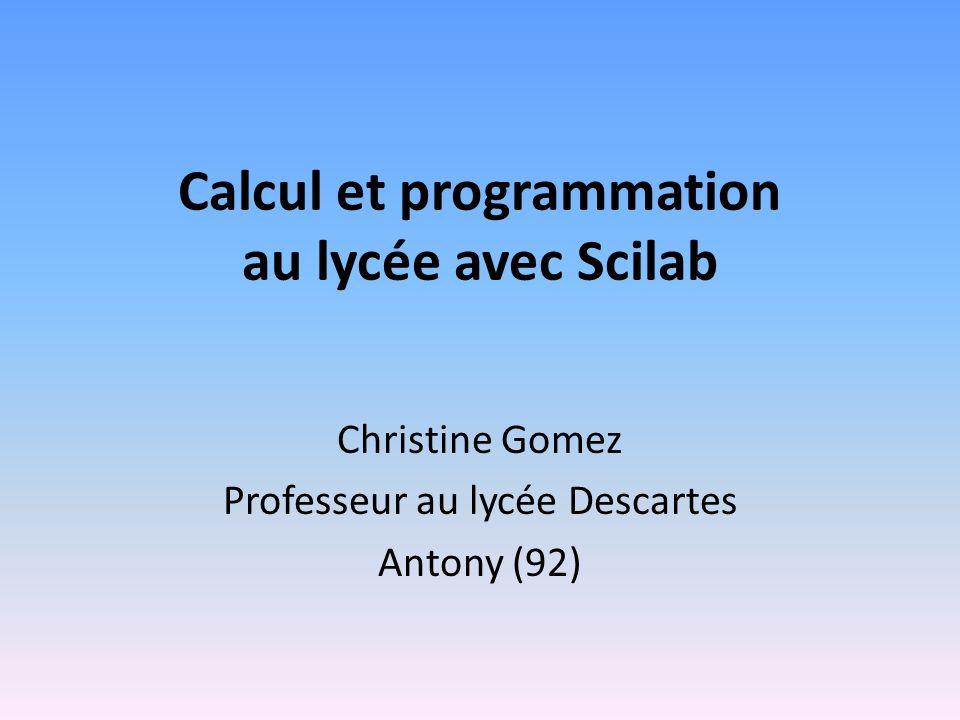 Calcul et programmation au lycée avec Scilab
