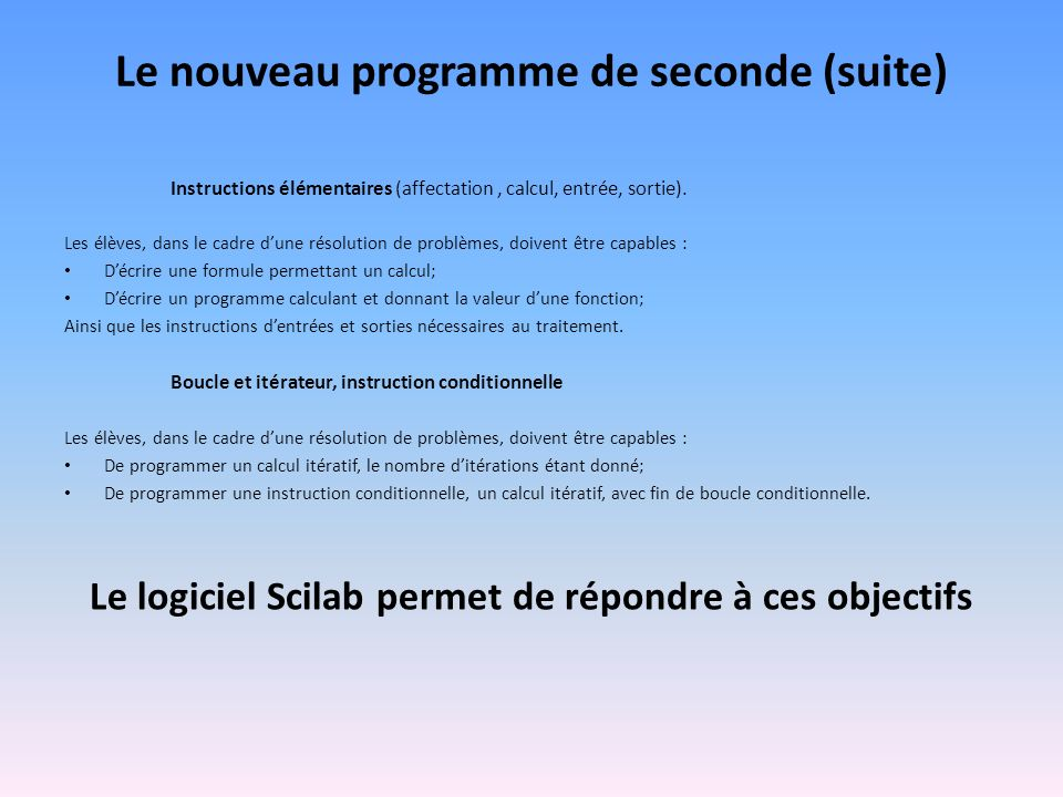 Le nouveau programme de seconde (suite)