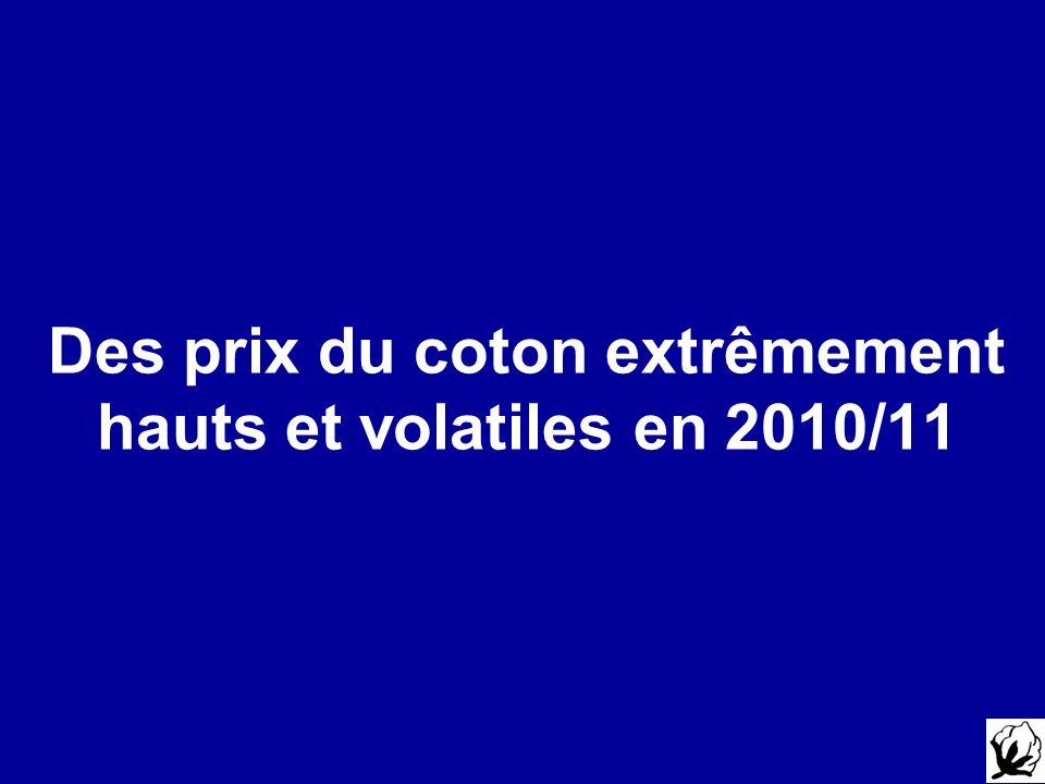 Des prix du coton extrêmement hauts et volatiles en 2010/11