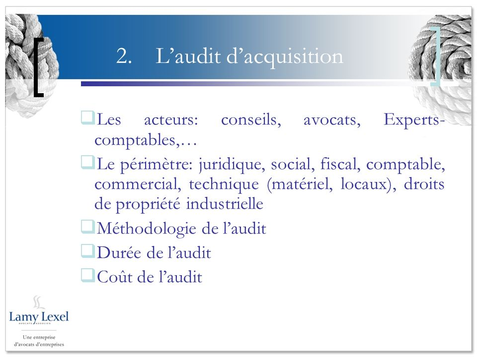 L'audit d'acquisition