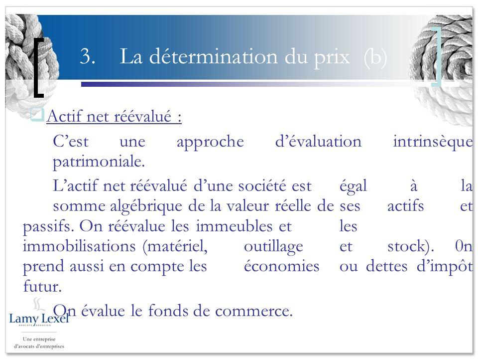 3. La détermination du prix (b)