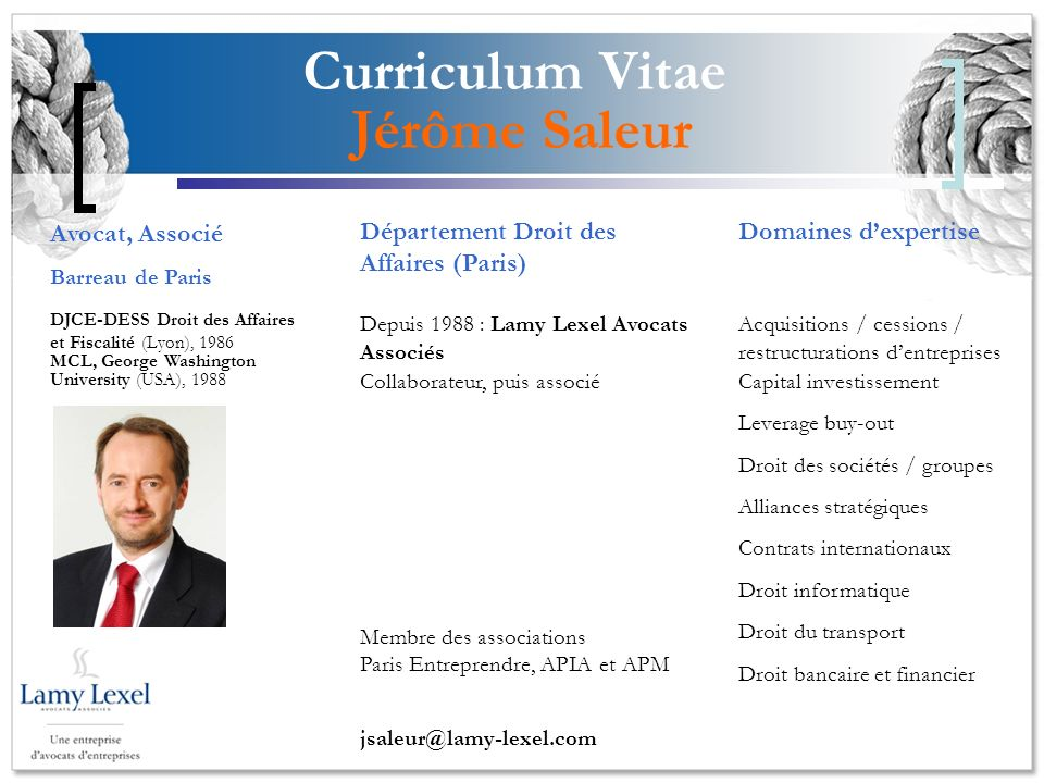 Curriculum Vitae Jérôme Saleur