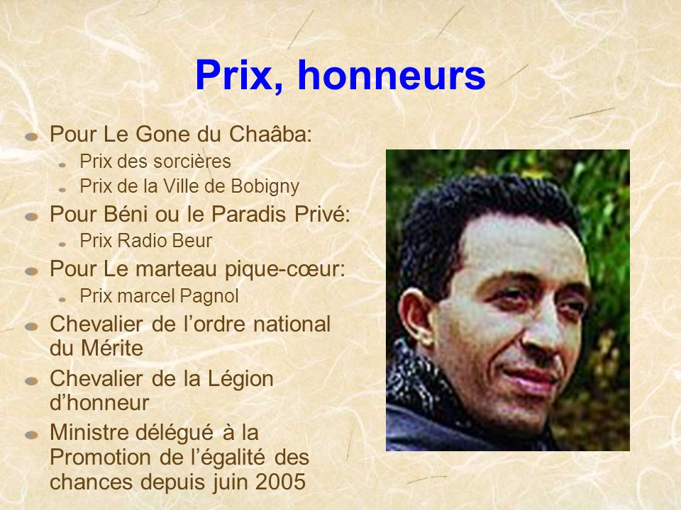 Prix, honneurs Pour Le Gone du Chaâba: Pour Béni ou le Paradis Privé: