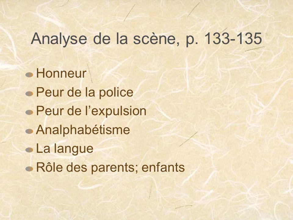 Analyse de la scène, p. 133-135 Honneur Peur de la police
