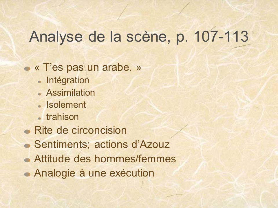 Analyse de la scène, p. 107-113 « T'es pas un arabe. »