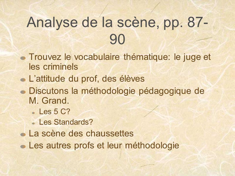 Analyse de la scène, pp. 87-90 Trouvez le vocabulaire thématique: le juge et les criminels. L'attitude du prof, des élèves.