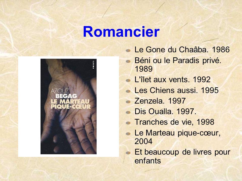 Romancier Le Gone du Chaâba. 1986 Béni ou le Paradis privé. 1989