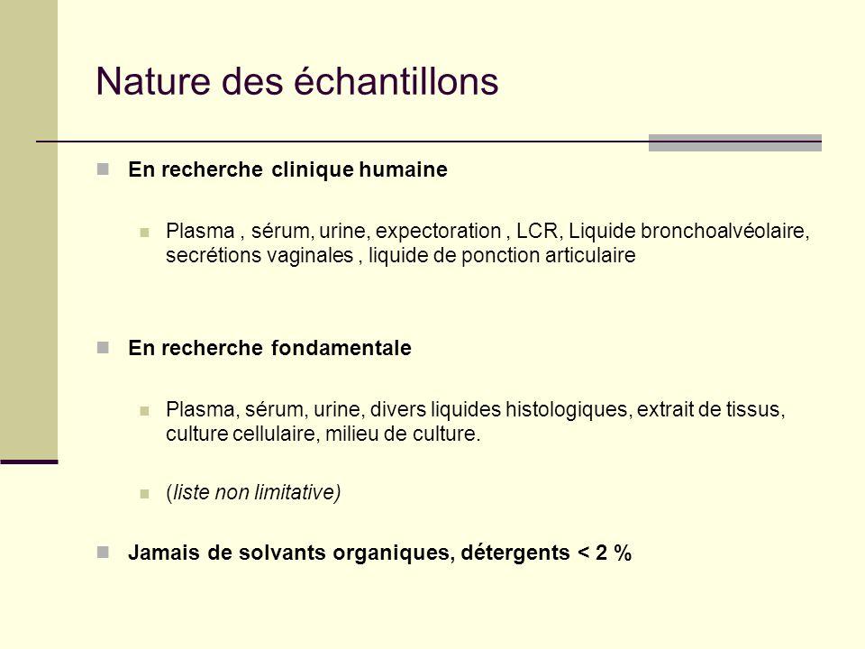 Nature des échantillons