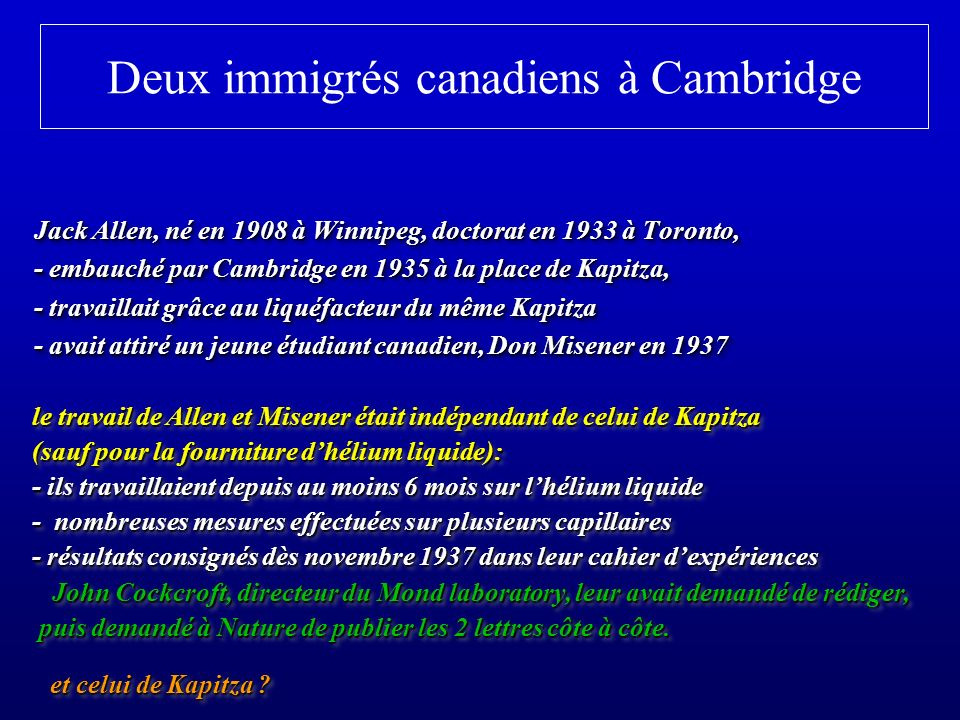 Deux immigrés canadiens à Cambridge