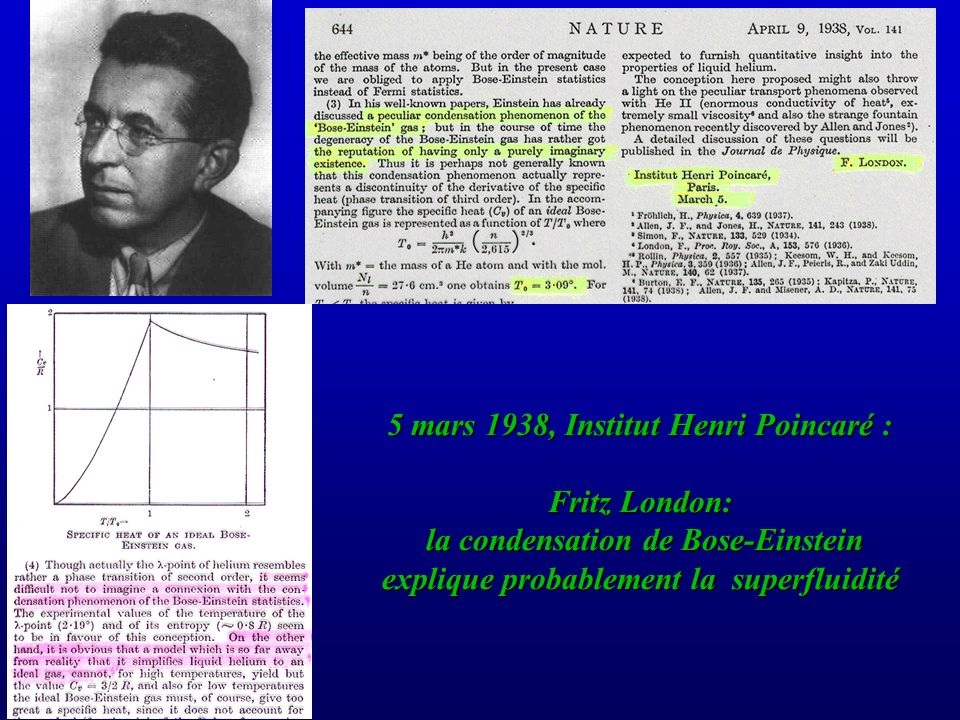 5 mars 1938, Institut Henri Poincaré : Fritz London: la condensation de Bose-Einstein explique probablement la superfluidité