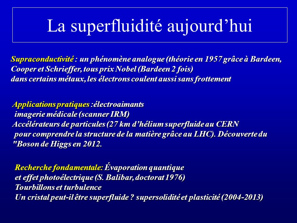 La superfluidité aujourd'hui