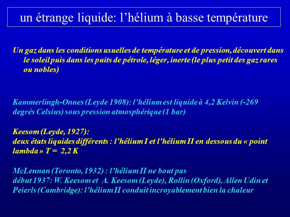 un étrange liquide: l'hélium à basse température