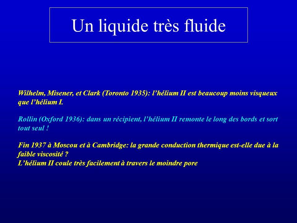 Un liquide très fluide Wilhelm, Misener, et Clark (Toronto 1935): l'hélium II est beaucoup moins visqueux que l'hélium I.