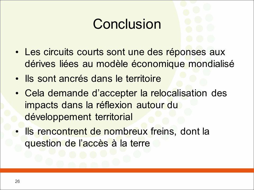 Conclusion Les circuits courts sont une des réponses aux dérives liées au modèle économique mondialisé.