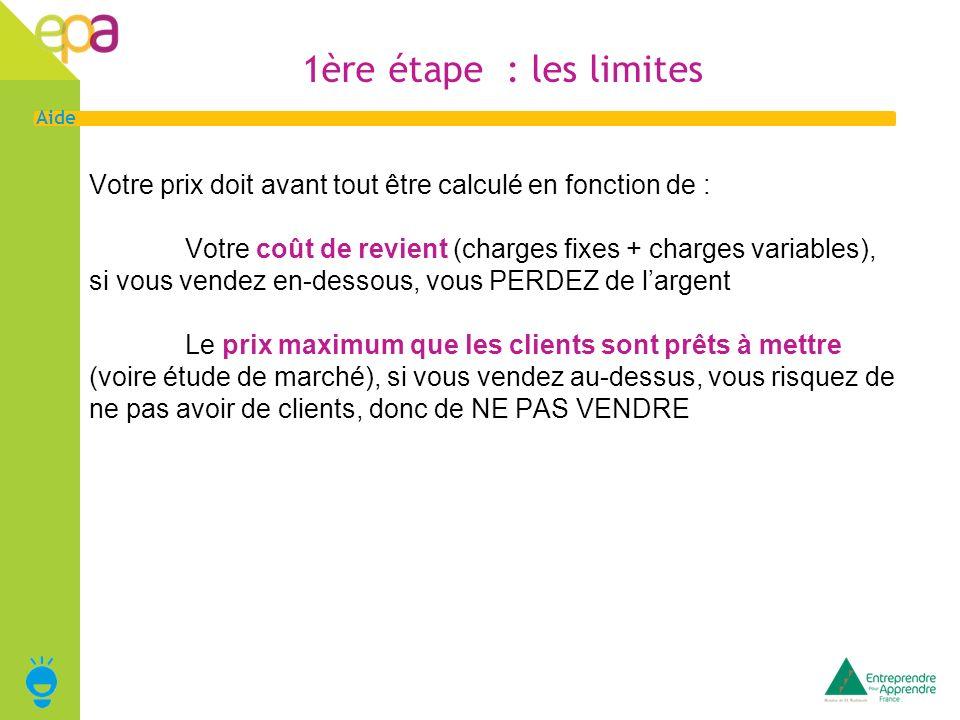 1ère étape : les limites Votre prix doit avant tout être calculé en fonction de :