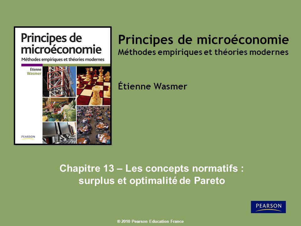 Chapitre 13 – Les concepts normatifs : surplus et optimalité de Pareto