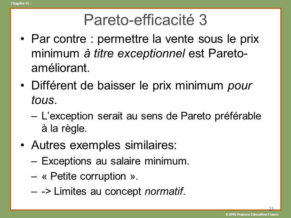 Pareto-efficacité 3 Par contre : permettre la vente sous le prix minimum à titre exceptionnel est Pareto-améliorant.