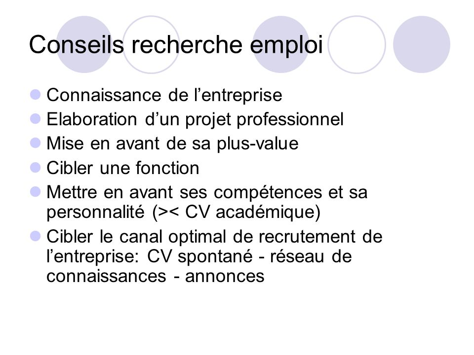 Conseils recherche emploi