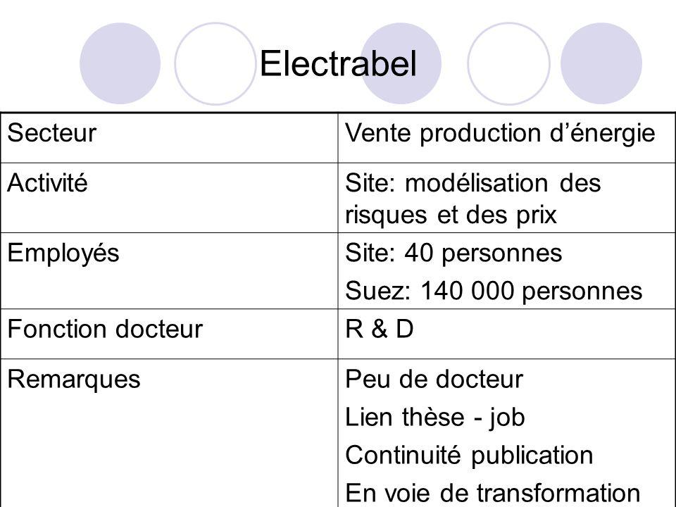Electrabel Secteur Vente production d'énergie Activité
