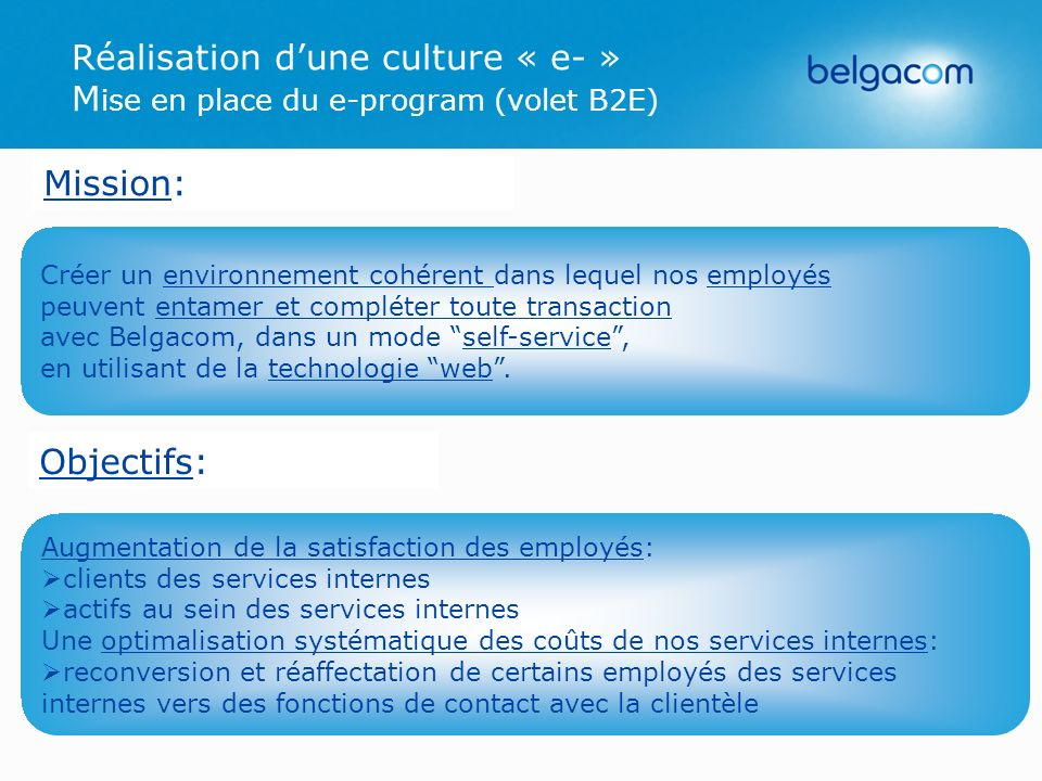 Réalisation d'une culture « e- » Mise en place du e-program (volet B2E)