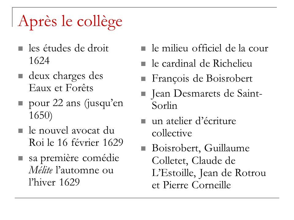 Après le collège les études de droit 1624
