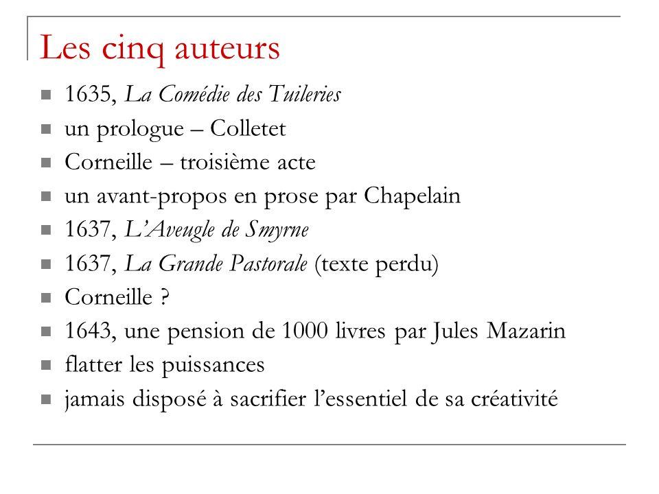 Les cinq auteurs 1635, La Comédie des Tuileries un prologue – Colletet