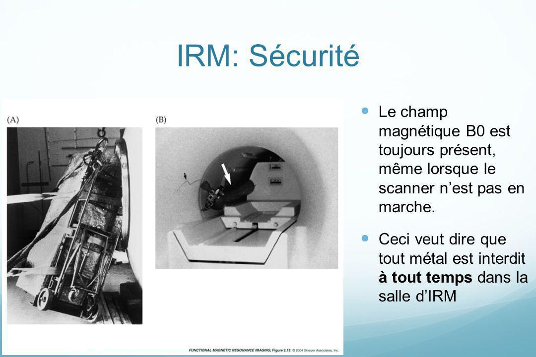 IRM: SécuritéLe champ magnétique B0 est toujours présent, même lorsque le scanner n'est pas en marche.