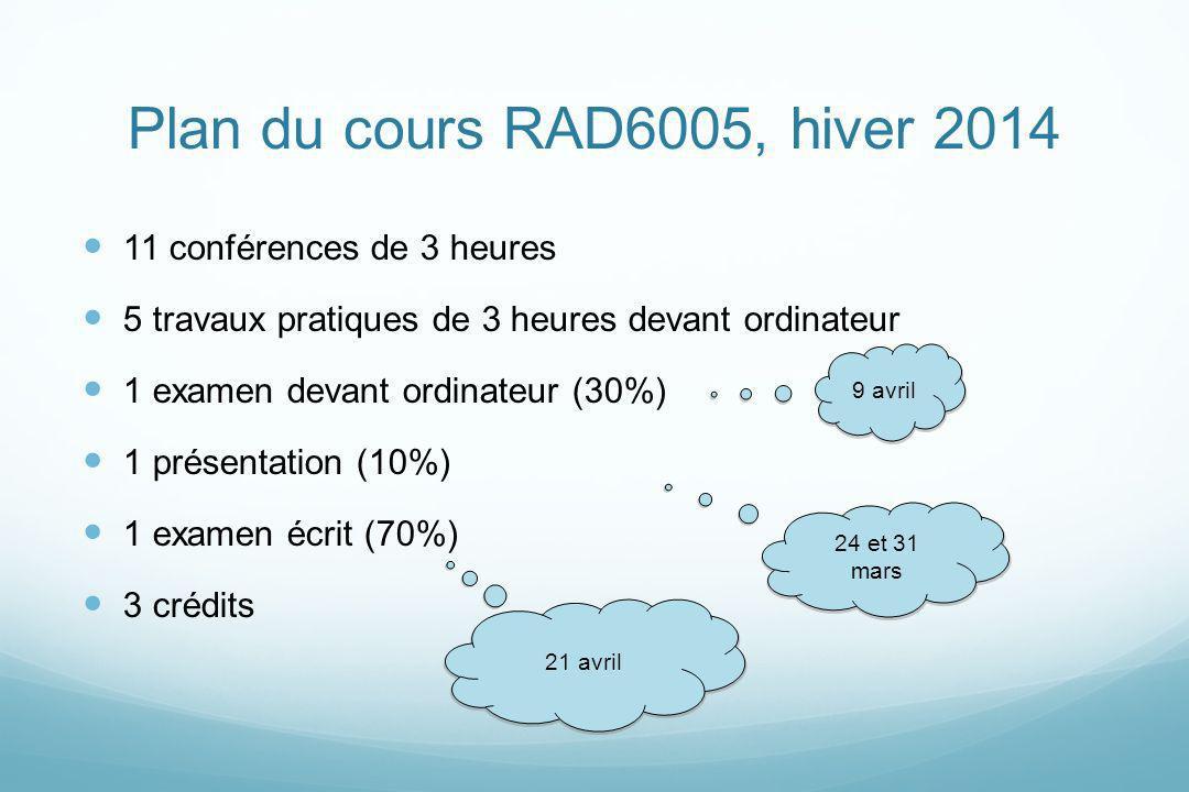 Plan du cours RAD6005, hiver 2014 11 conférences de 3 heures