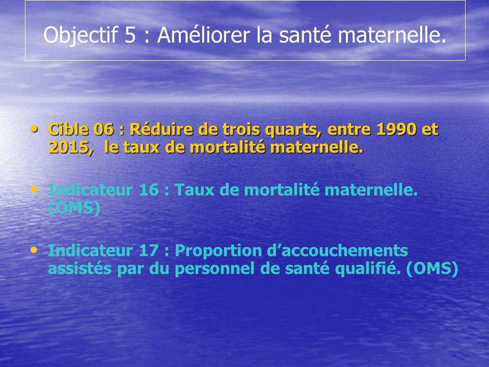 Objectif 5 : Améliorer la santé maternelle.