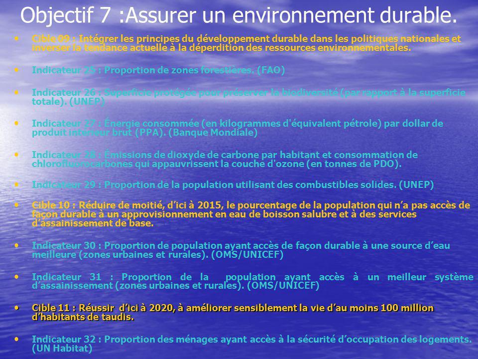 Objectif 7 :Assurer un environnement durable.