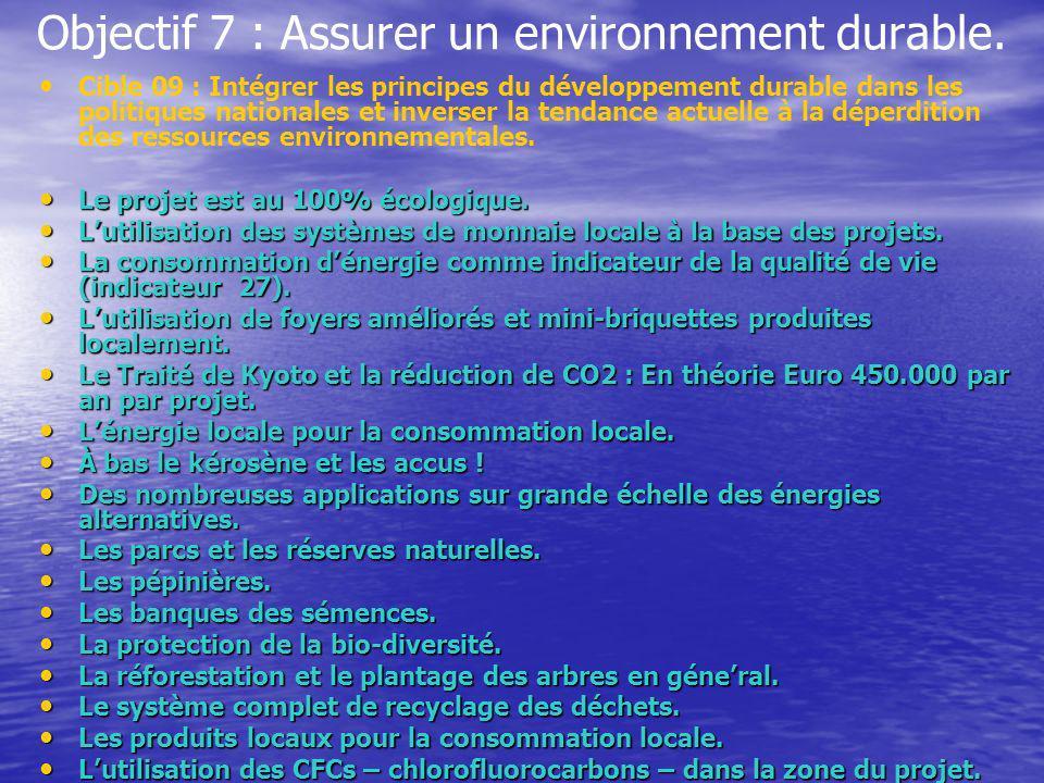 Objectif 7 : Assurer un environnement durable.