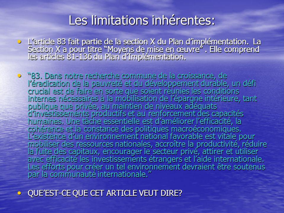 Les limitations inhérentes: