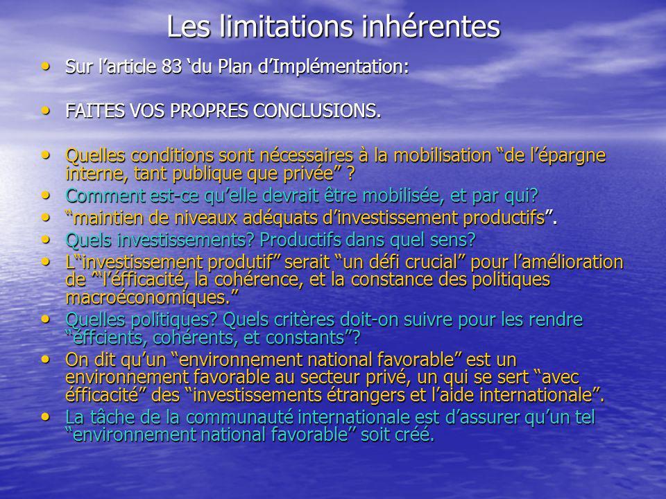 Les limitations inhérentes