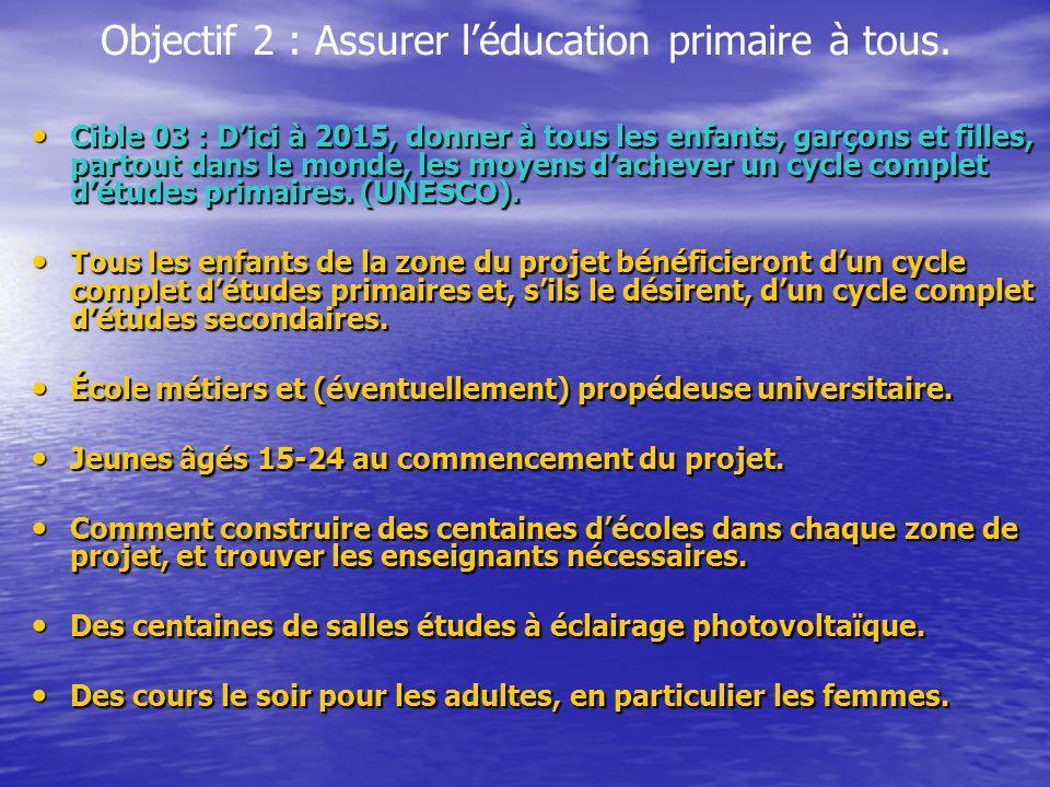 Objectif 2 : Assurer l'éducation primaire à tous.