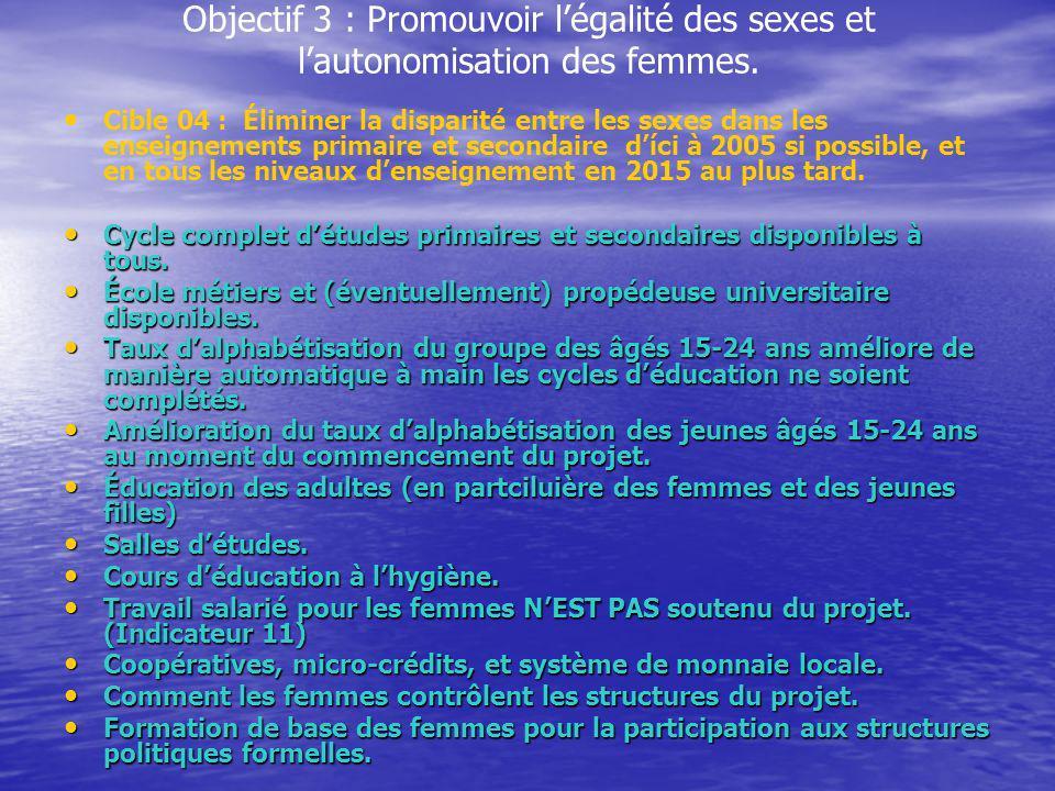 Objectif 3 : Promouvoir l'égalité des sexes et l'autonomisation des femmes.