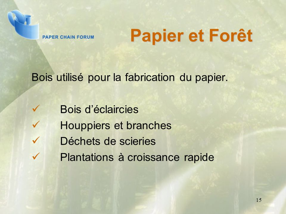 Papier et Forêt Bois utilisé pour la fabrication du papier.