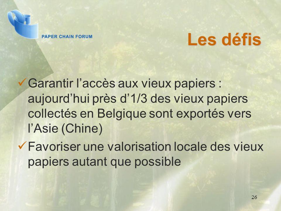 Les défis Garantir l'accès aux vieux papiers : aujourd'hui près d'1/3 des vieux papiers collectés en Belgique sont exportés vers l'Asie (Chine)