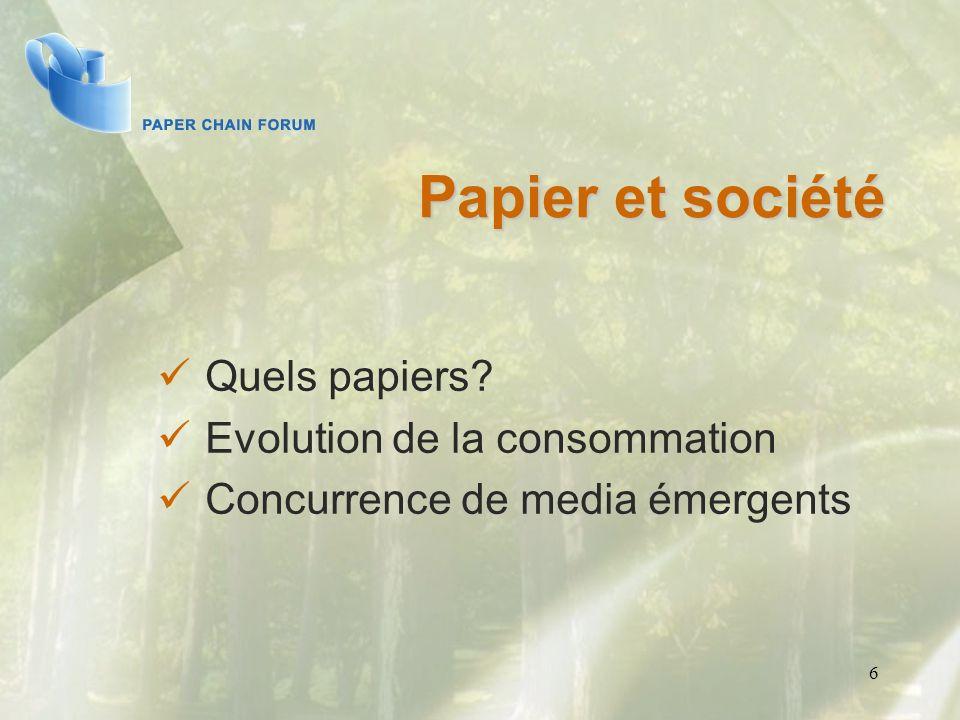 Papier et société Quels papiers Evolution de la consommation