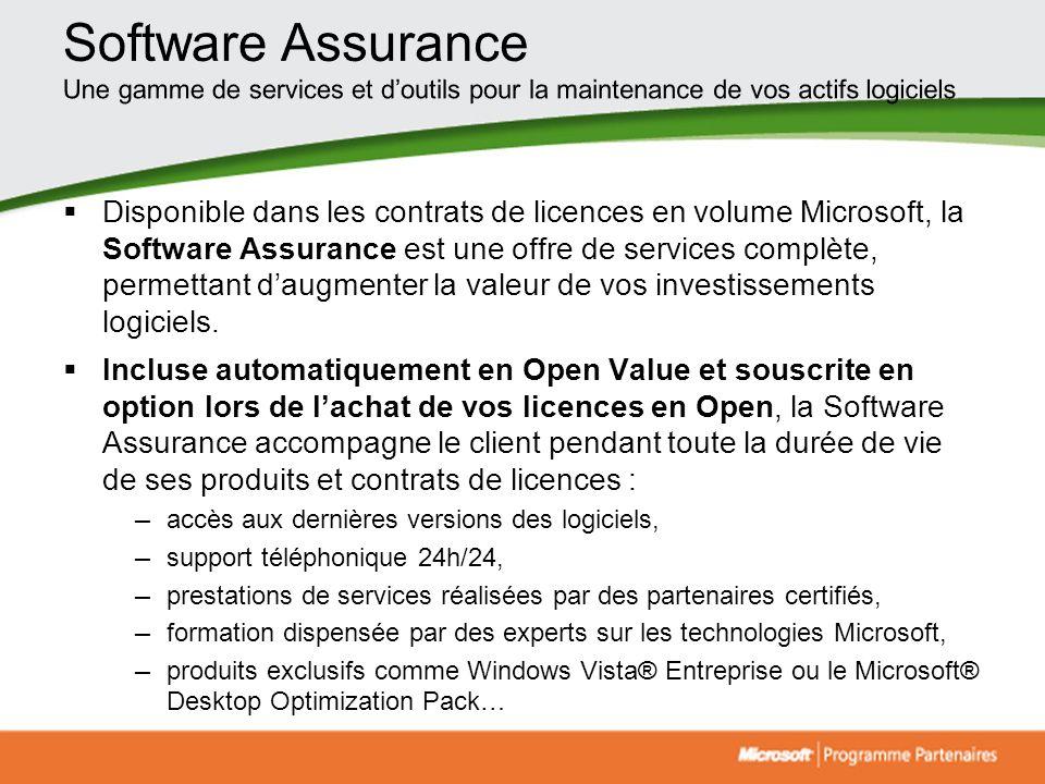 Software Assurance Une gamme de services et d'outils pour la maintenance de vos actifs logiciels.