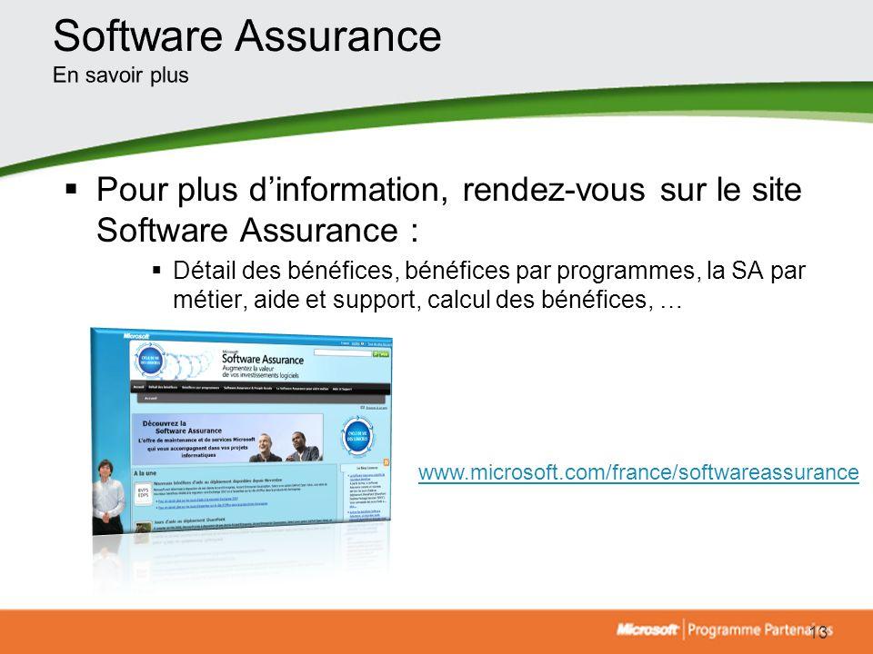 Software Assurance En savoir plus. Pour plus d'information, rendez-vous sur le site Software Assurance :