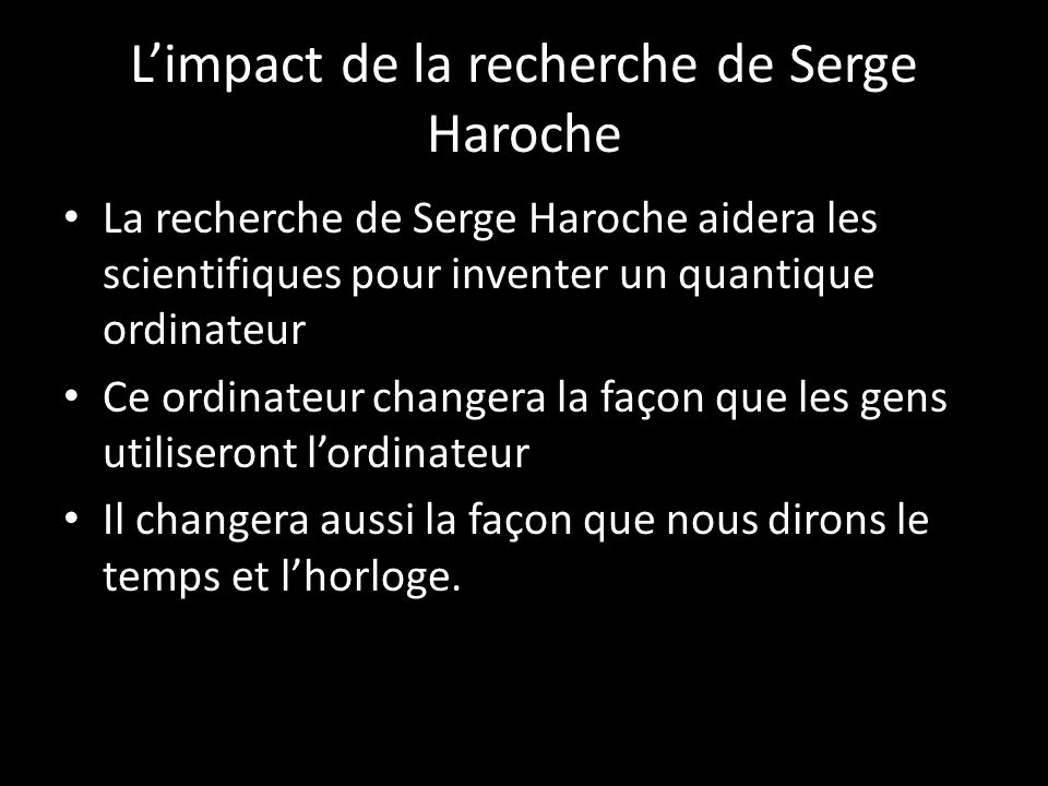 L'impact de la recherche de Serge Haroche