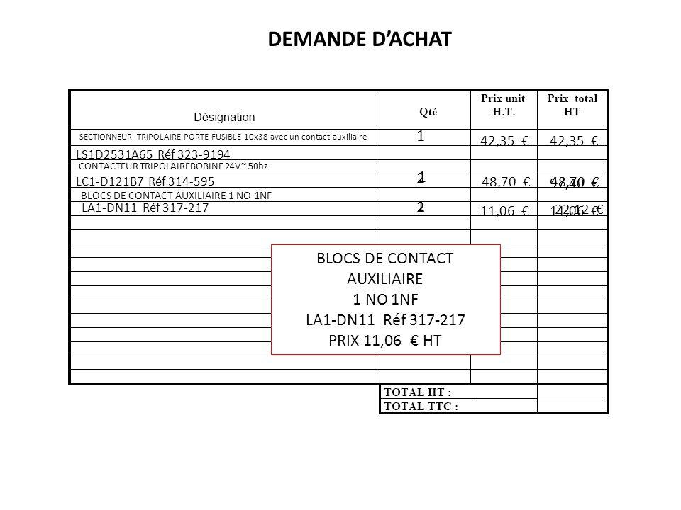 DEMANDE D'ACHAT 1 2 1 2 1 BLOCS DE CONTACT AUXILIAIRE 1 NO 1NF