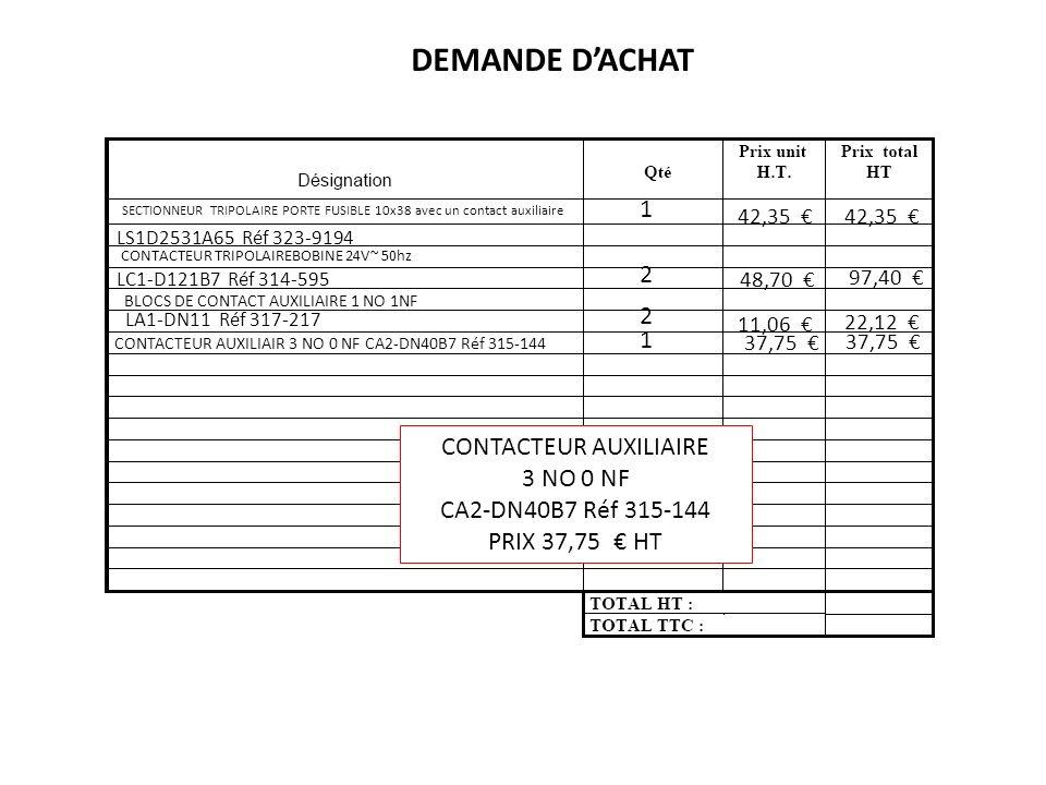 DEMANDE D'ACHAT 1 2 2 1 CONTACTEUR AUXILIAIRE 3 NO 0 NF