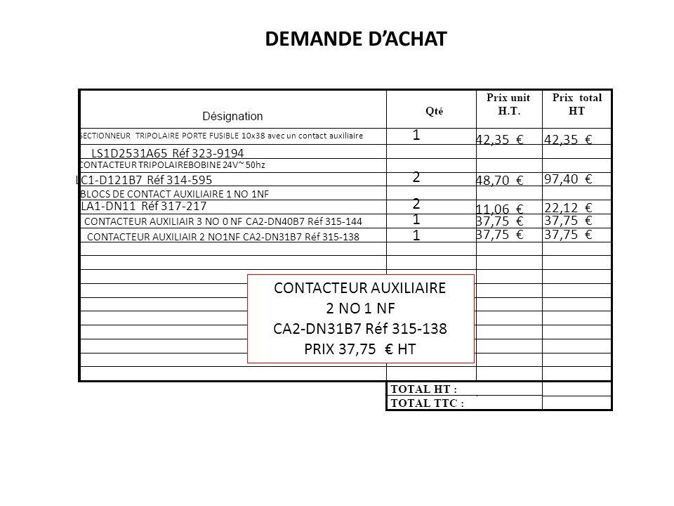 DEMANDE D'ACHAT 1 2 2 1 1 CONTACTEUR AUXILIAIRE 2 NO 1 NF