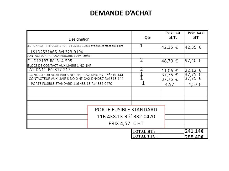 DEMANDE D'ACHAT 1 2 2 1 1 1 PORTE FUSIBLE STANDARD