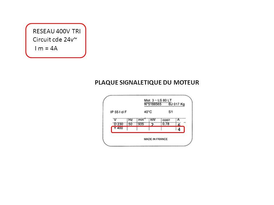 RESEAU 400V TRI Circuit cde 24v~ I m = 4A PLAQUE SIGNALETIQUE DU MOTEUR