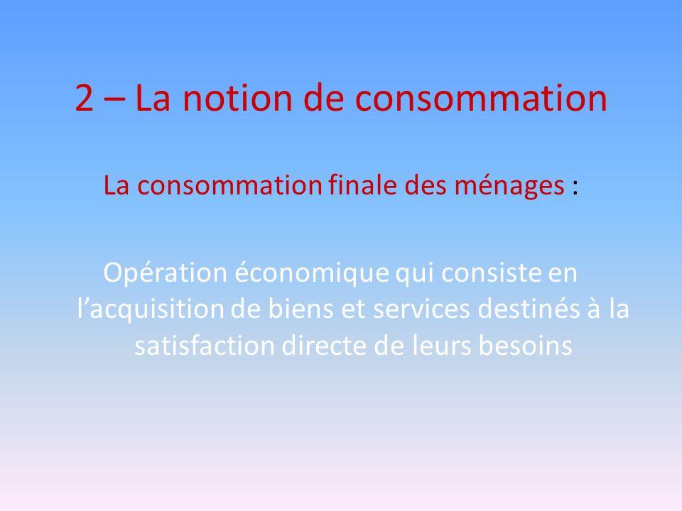 2 – La notion de consommation
